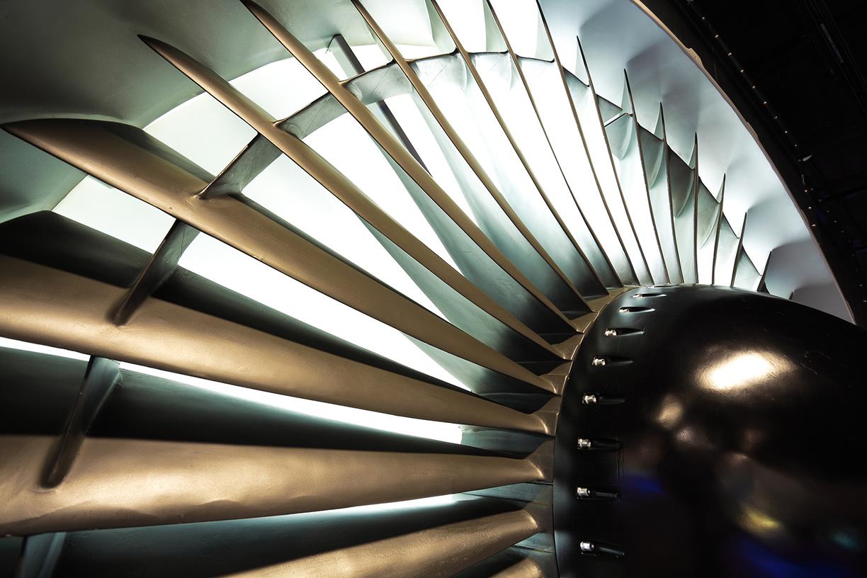 Airplane engine close-up