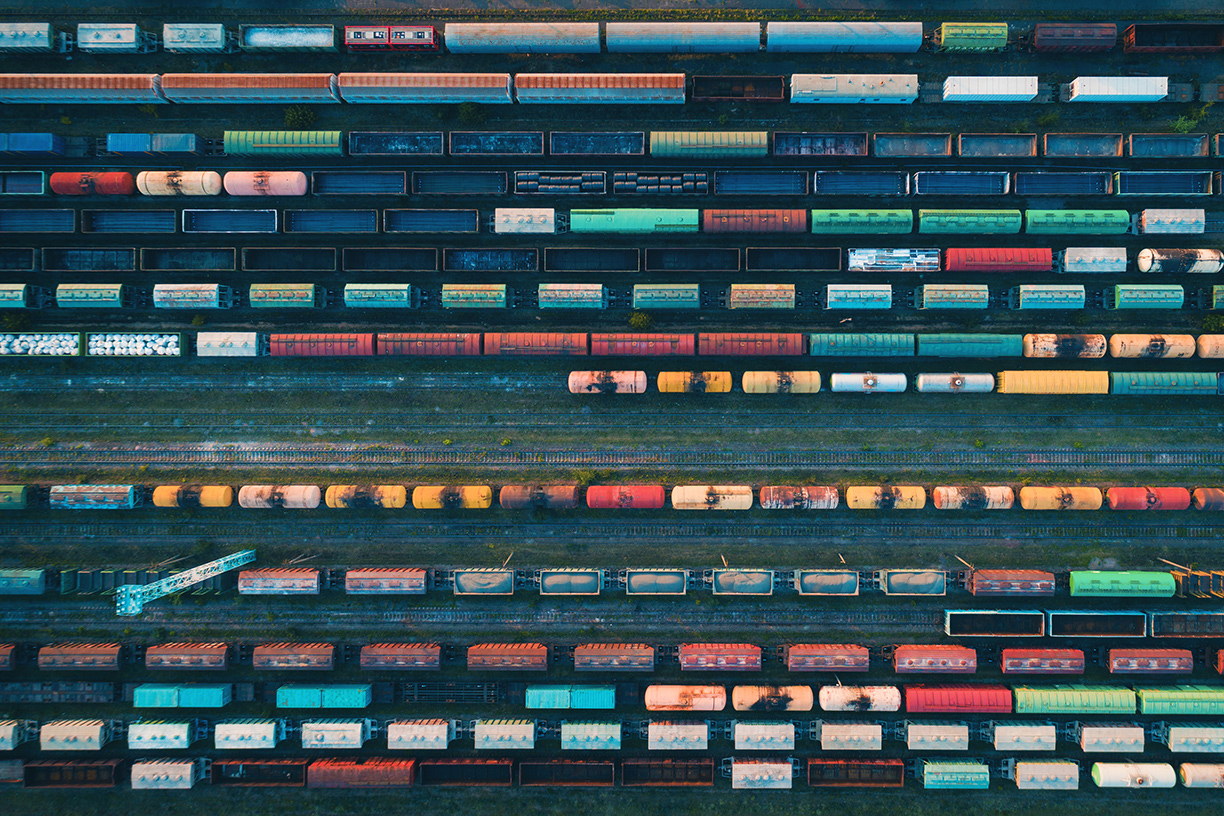Birds eye view of freight trains