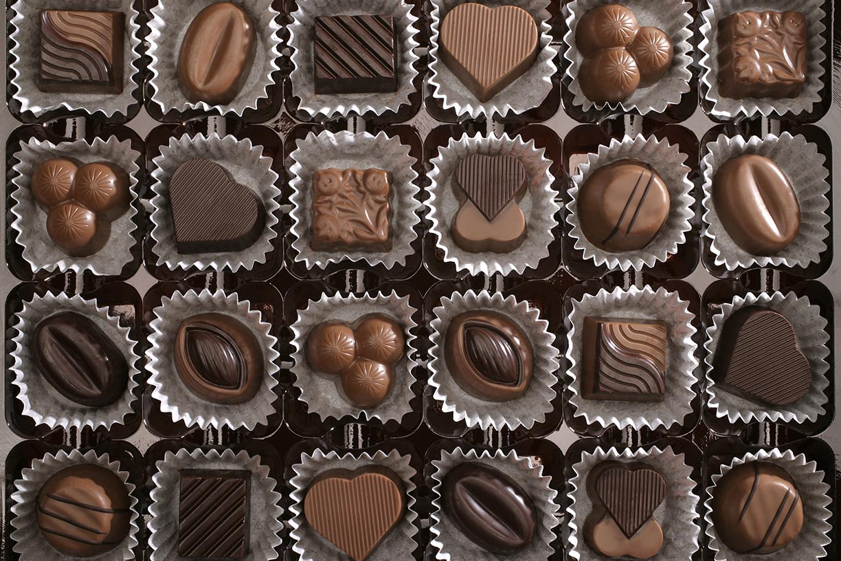 Aerial shot of rows of chocolates in paper cups