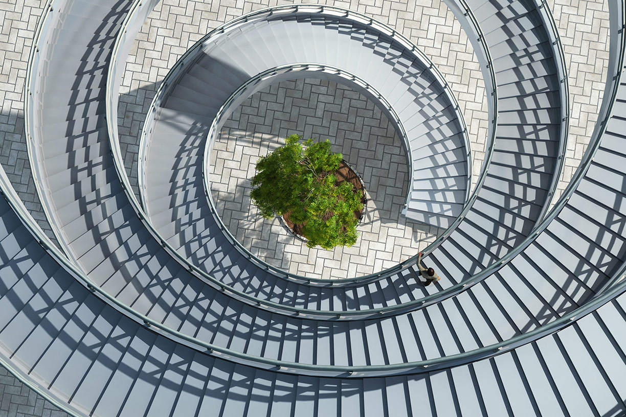 Circular staircase with tree in center