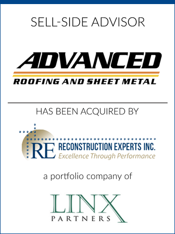 tombstone - sell-side transaction Advanced Roofing and RE Reconstructions Experts Inc and LINX Partners logo 2019