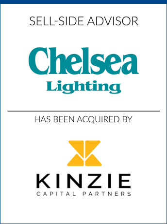 tombstone - sell-side transaction Chelsea Lighting NYC LLC 2020 and Kinzie Capital Partners logo