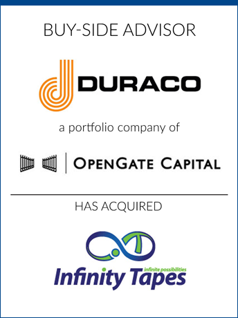 tombstone - buy-side transaction Duraco Specialty Tapes 2020 and OpenGate Capital and Infinity Tapes logo