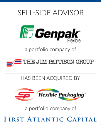 tombstone - sell-side transaction Genpak Flexible 2020 and The Jim Pattison Group and SP Flexible Packaging and First Atlantic Capital logo