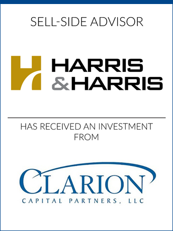 tombstone - sell-side transaction Harris and Harris and Clarion Capital Partners LLC logo 2019