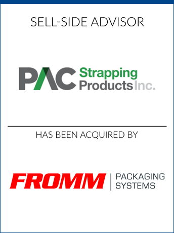 tombstone - sell-side transaction PAC Strapping Products and FROMM Packaging Systems logo 2018
