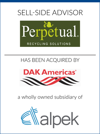 tombstone - sell-side transaction Perpetual Recycling Solutions LLC and DAK Americas and alpek logo  2019