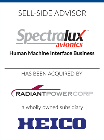tombstone - sell-side transaction Spectralux Corporation 2020 and Radiant Powercorp and HEICO logo