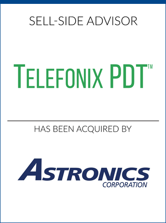 tombstone - sell-side transaction Telefonix PDT and Astronics Corporation logo  2018