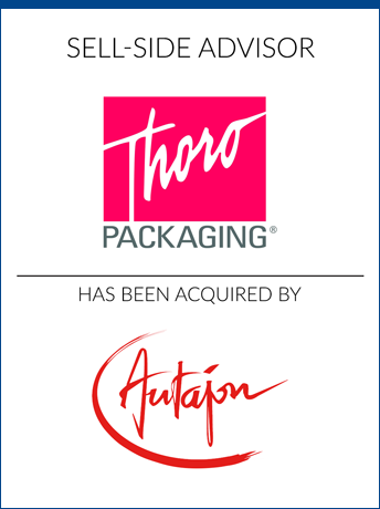 tombstone - sell-side transaction Thoro Packaging Inc and Autajon logo 2018