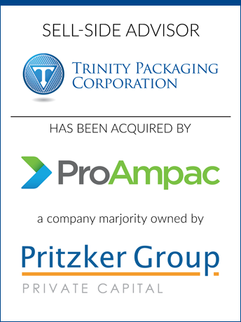 tombstone - sell-side transaction Trinity Packaging Corporation and ProAmpac and Pritzker Group Private Capital logo 2017