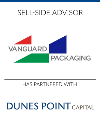 tombstone - sell-side transaction Vanguard Packaging and Dunes Point Capital logo 2019