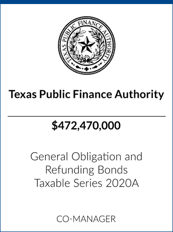 tombstone - transaction Texas Public Finance Authority logo series 2020A